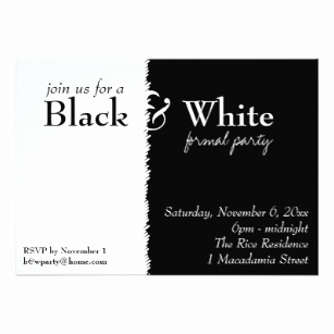 Black and White Party Einladung Elegant Black and White themed Invitations & Announcements