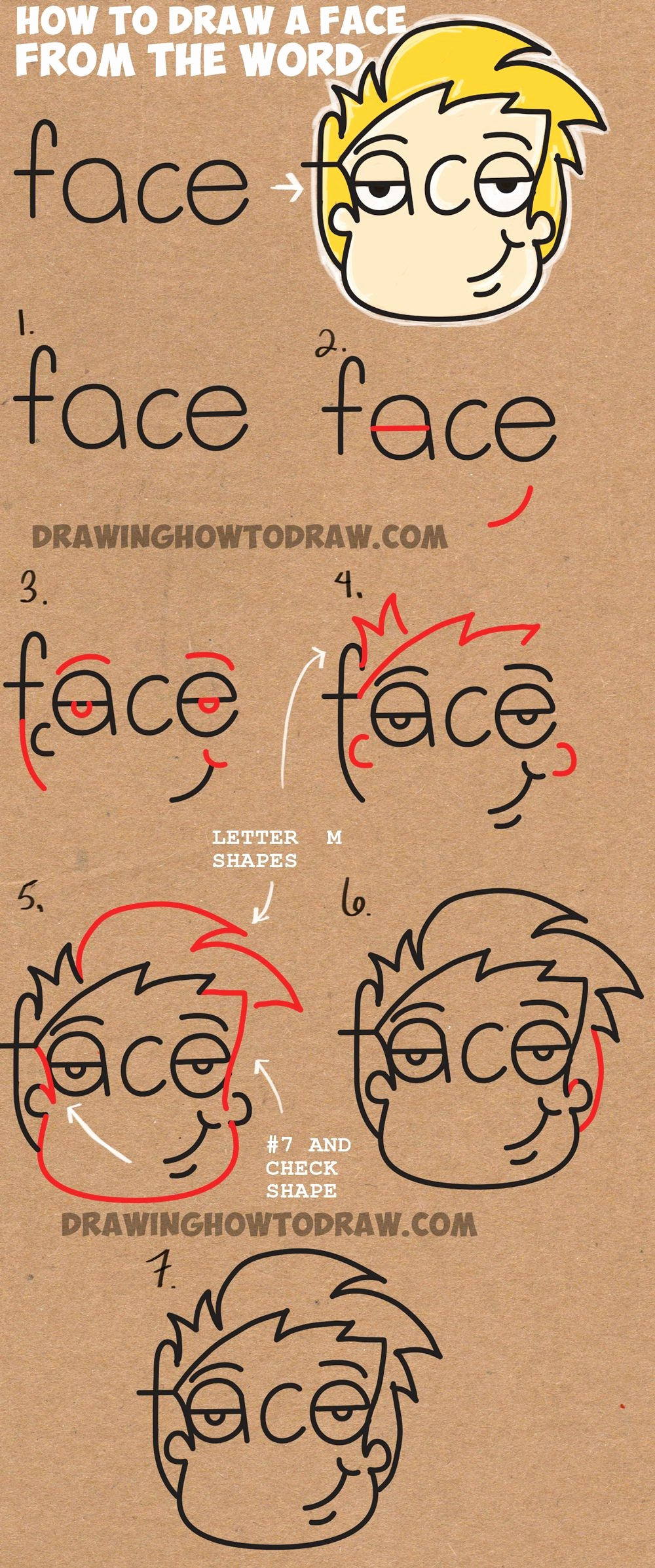 Comic Zeichnen Lernen Schön How to Draw Cartoon Faces From the Word Face Easy Step by Step