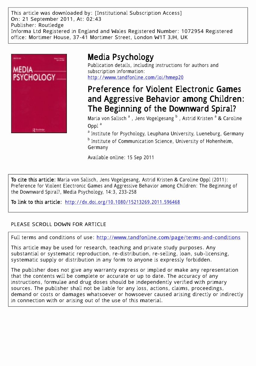 Computerspiele Fur Kids Inspirierend Pdf Preference for Violent Electronic Games and Aggressive Behavior