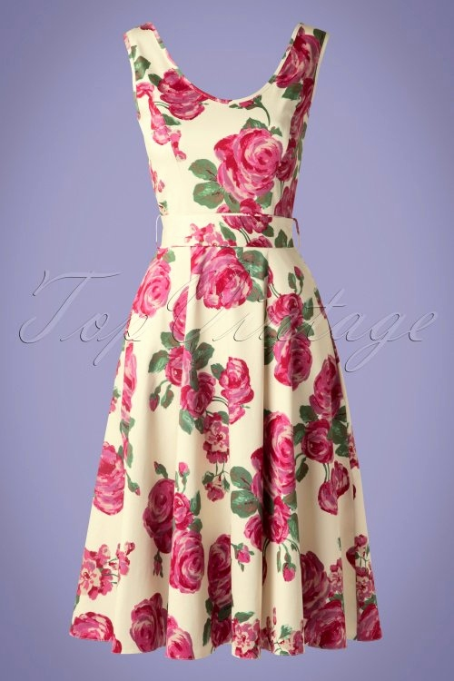Dankeskarte Hochzeit Vintage Luxus 50s Charlotte Pink Rose Dress In Cream