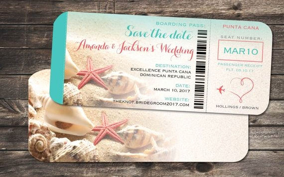 Einladungskarten Boarding Pass Schön Starfish Wedding Save the Date Boarding Pass