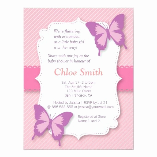 Einladungskarten Schmetterling Frisch Elegant Purple butterfly Baby Shower Invitation