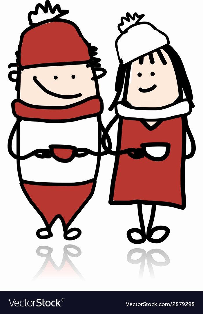 Fisch Bilder Comic Schön Couple Walking with Coffee Cups Cartoon for Your Vector Image