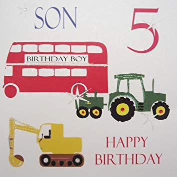 "Geburtstagskarte Teenager Elegant White Cotton Cards ""sohn 5 Happy Birthday Traktor Bus Bagger"
