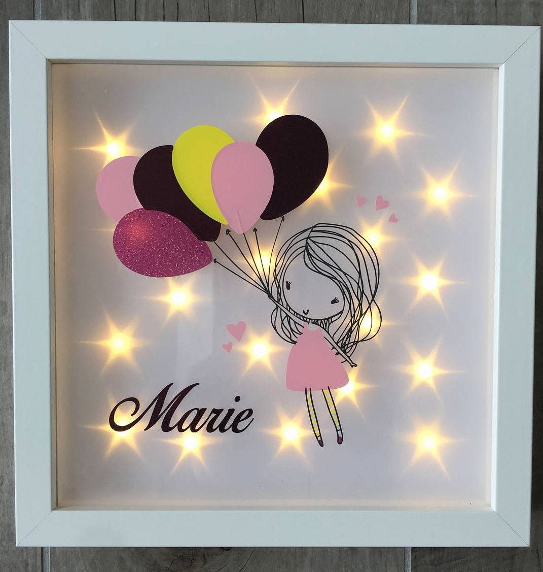 Geschenke Zur Taufe Selber Basteln Genial Illuminated Picture Frame with Balloon Girl and Name Night Light