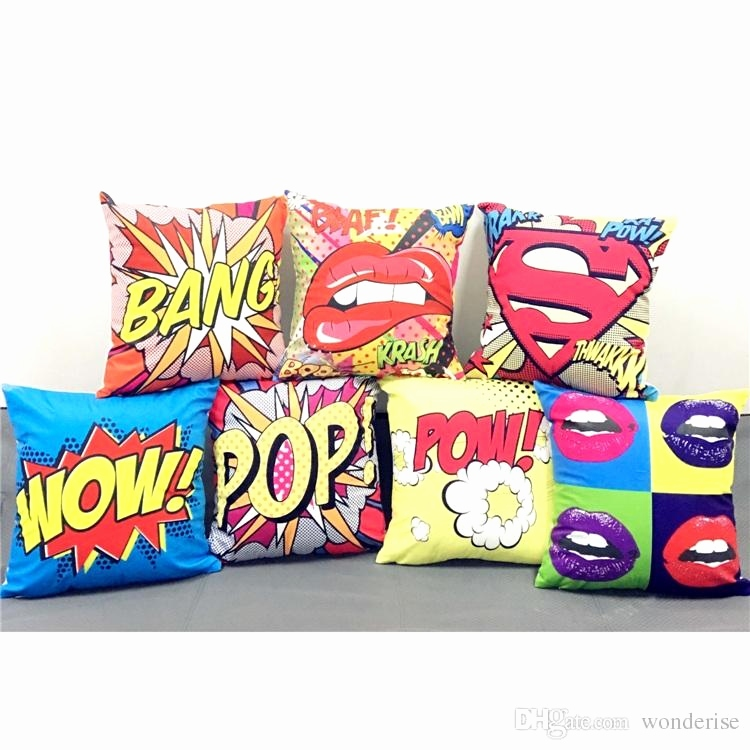 Graffiti Buchstaben 3d Schön Color Graffiti Rock and Roll Style Cushion Covers Letters Pop Wow
