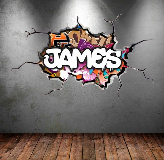 Graffiti Buchstaben 3d Schön Personalised Graffiti Name Wall Decal Cracked Wall 3d Vinyl Wall
