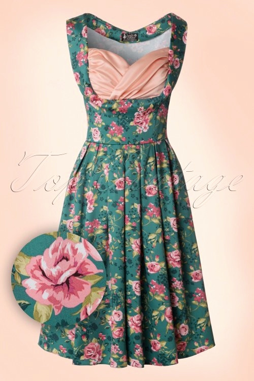 Hochzeitskarte Danke Inspirierend 50s Madison Summer Rose Swing Dress In Vintage Green