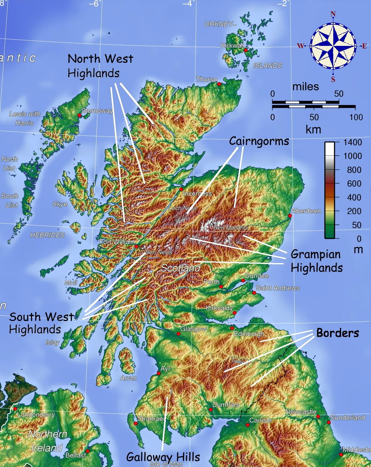 Landkarte Drucken Lassen Frisch Map Showing Mountainous areas Of Scotland Maps