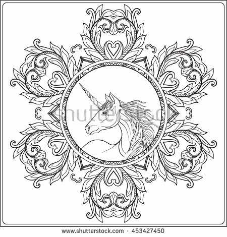 Mia and Me Mandala Inspirierend Unicorn In Vintage Decorative Floral Mandala Frame Vector