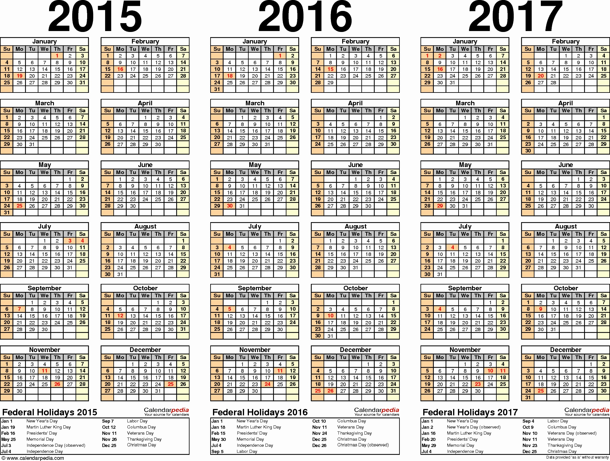 Monatskalender 2016 Excel Neu 2015 2016 2017 Calendar 4 Three Year Printable Pdf Calendars
