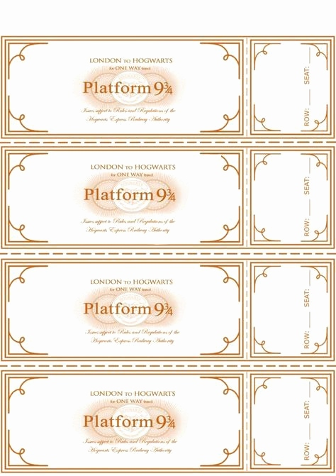 Ticket Vorlage Kostenlos Schön Free Harry Potter Hogwarts Express Ticket Template Plus Links to