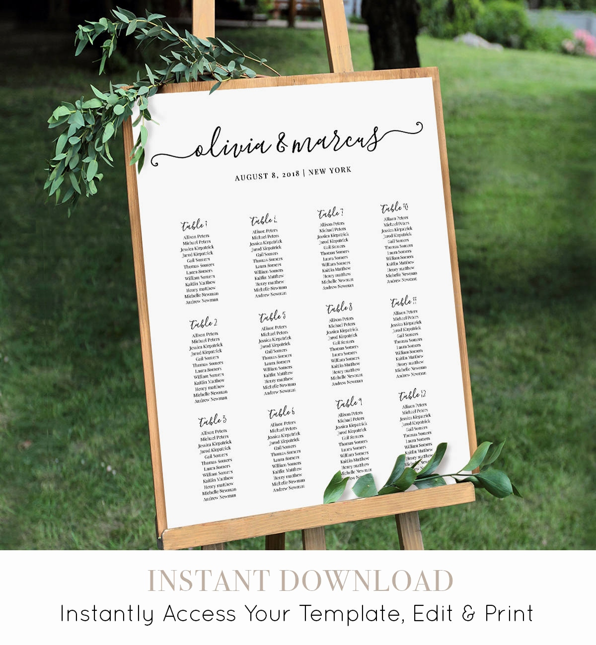 Wedding Tree Vorlage Schön Wedding Seating Chart Printable Seating Plan Poster Table