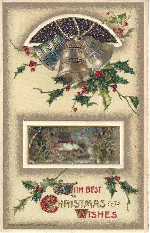 Weihnachtswunsche Karte Best Antique 1911 John Winsch Christmas Wishes Postcard Bells Holly