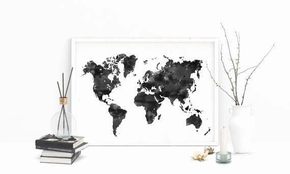 Weltkarte Zum Drucken Schön Black Watercolor World Map Printable Map Of World Watercolor