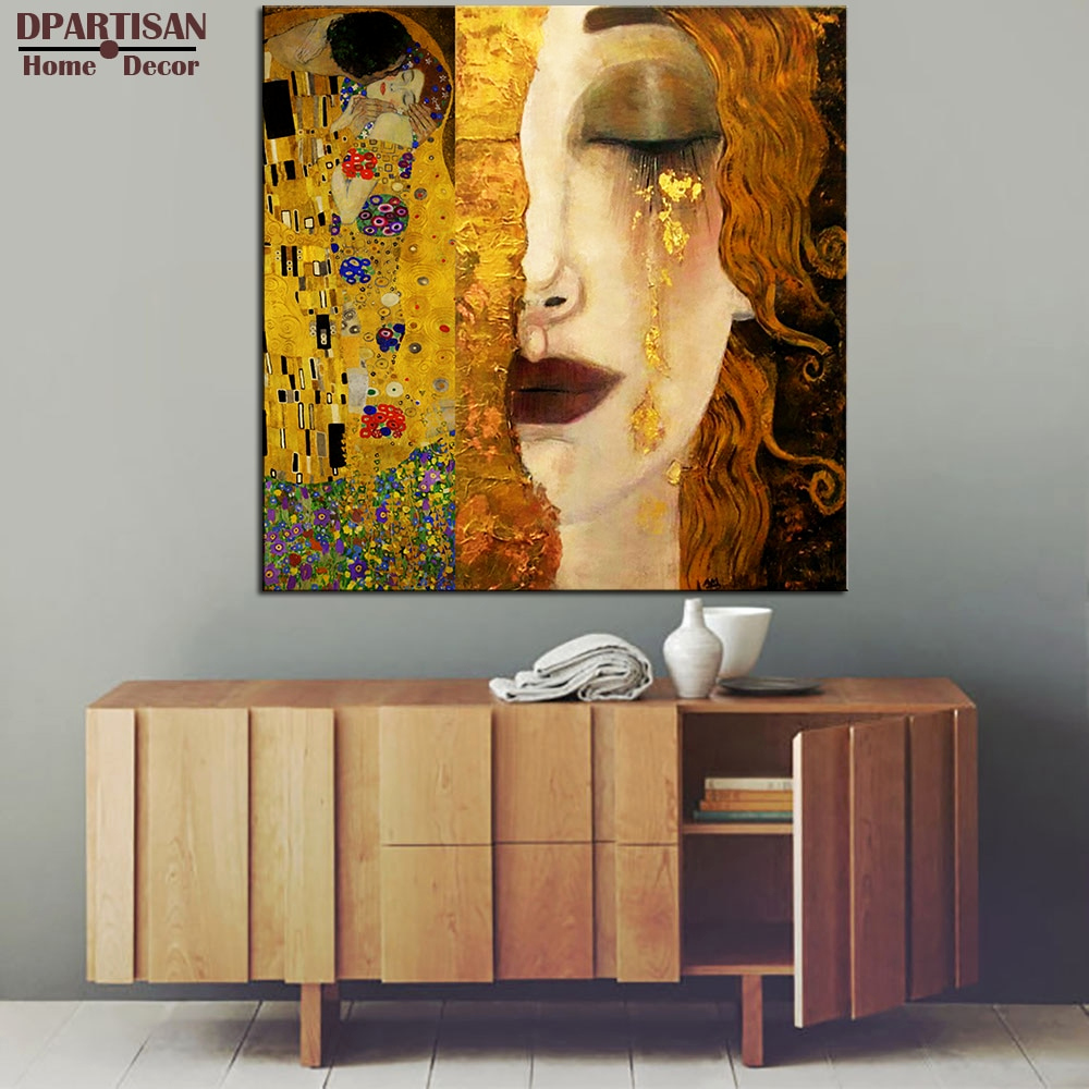 Arte M Sideboard Best Selflessly Art Gustav Klimt Golden Tears and Kiss Paintings Canvas