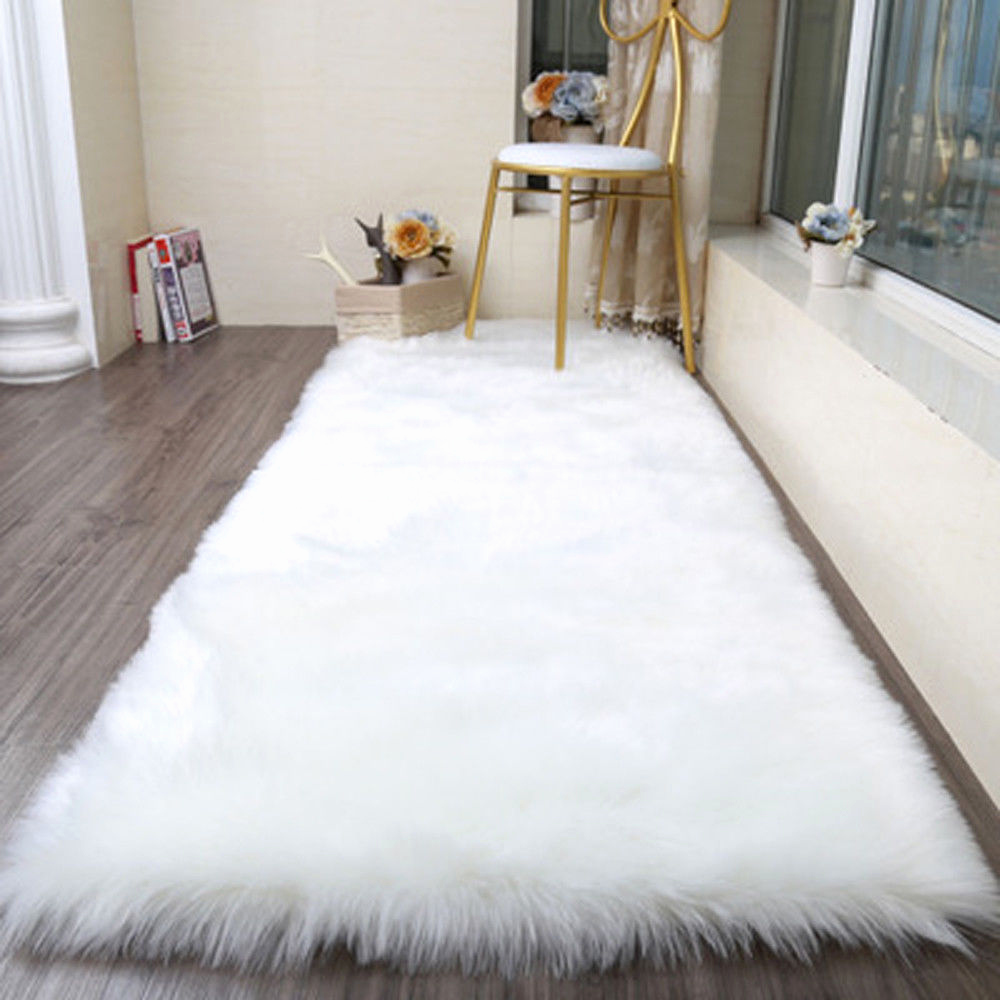 Shaggy Teppich Beige Schön Faux Fur Fake Rugs Washable Hairy Mat Fluffy soft Shaggy Carpets